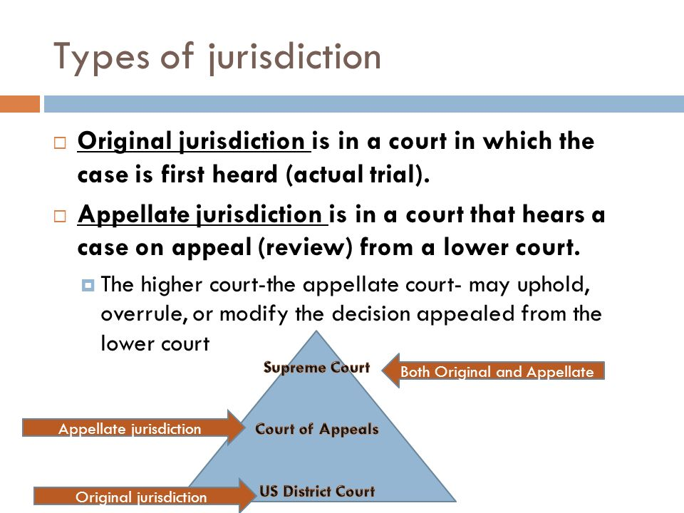 Types of jurisdiction Original jurisdiction is in a court in which the case is first heard (actual trial).