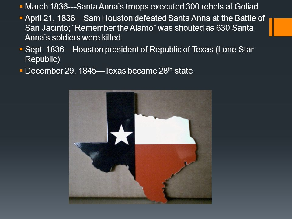 March 1836---Santa Anna's troops executed 300 rebels at Goliad