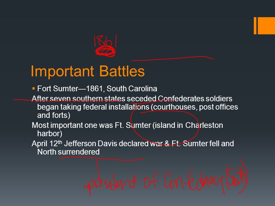 Important Battles Fort Sumter—1861, South Carolina