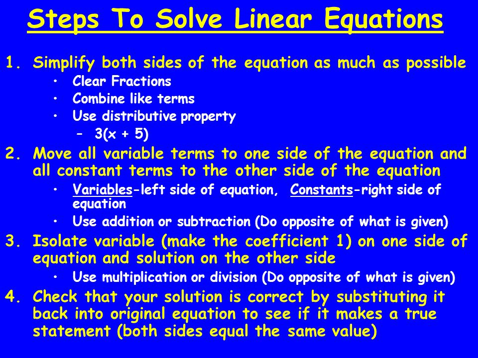 Steps To Solve Linear Equations
