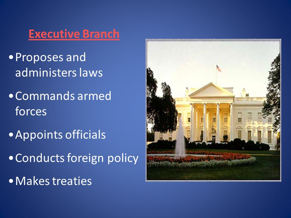 Executive Branch Proposes and administers laws. Commands armed forces. Appoints officials. Conducts foreign policy.