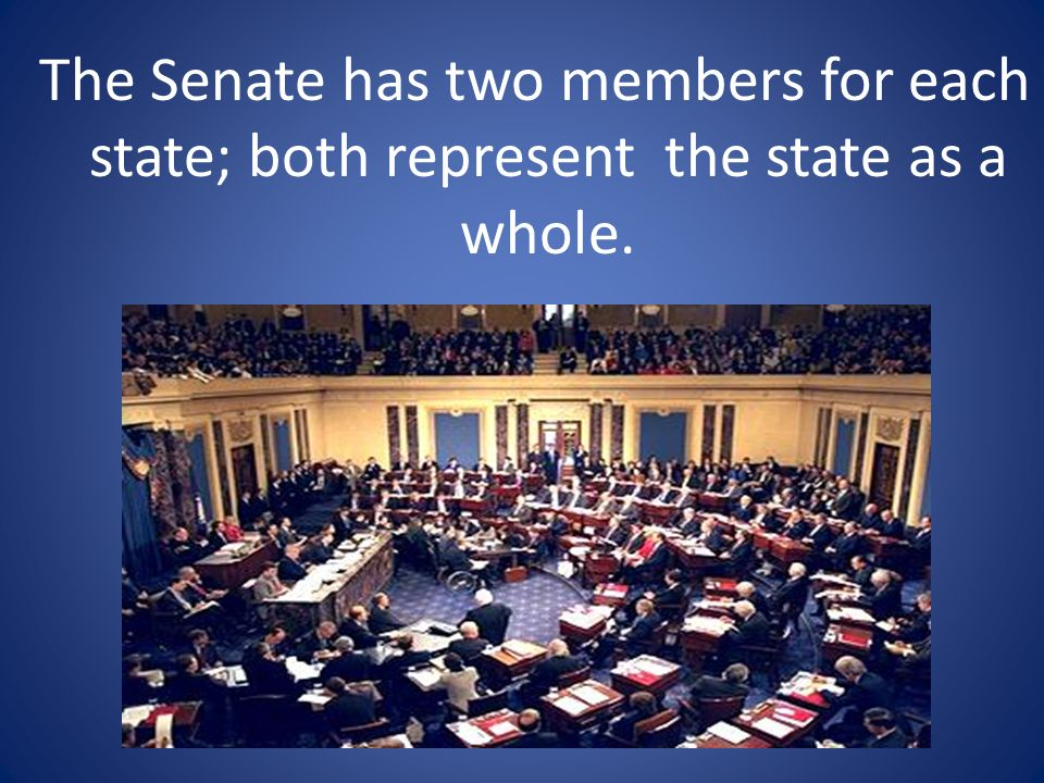 The Senate has two members for each state; both represent the state as a whole.