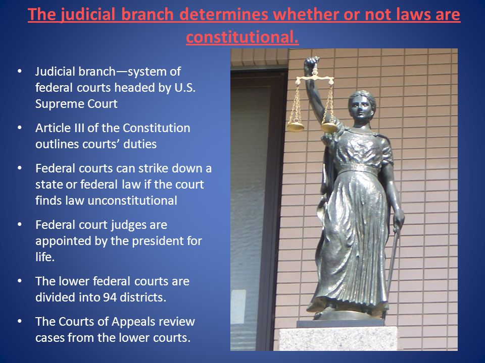 The judicial branch determines whether or not laws are constitutional.