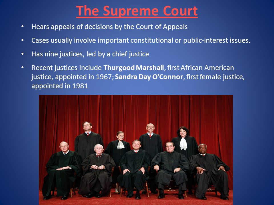The Supreme Court Hears appeals of decisions by the Court of Appeals