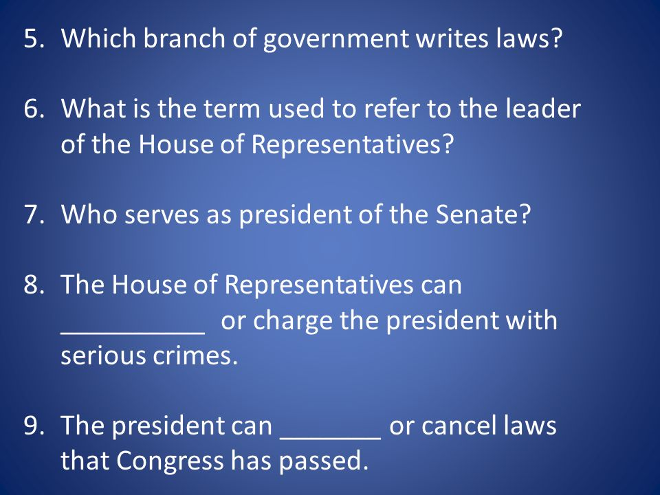 Which branch of government writes laws