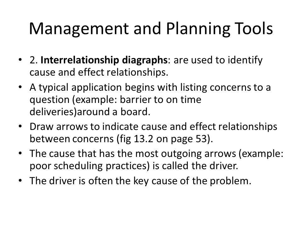 cause and effect relationship examples in management