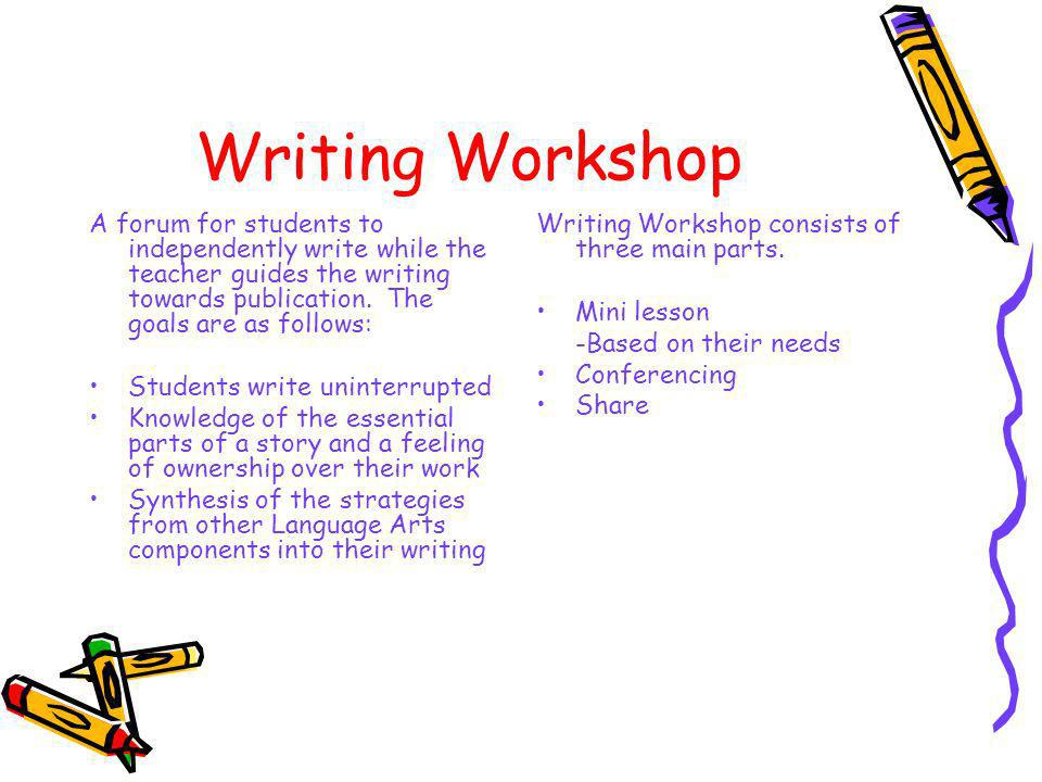 Writing Workshop A forum for students to independently write while the teacher guides the writing towards publication. The goals are as follows: