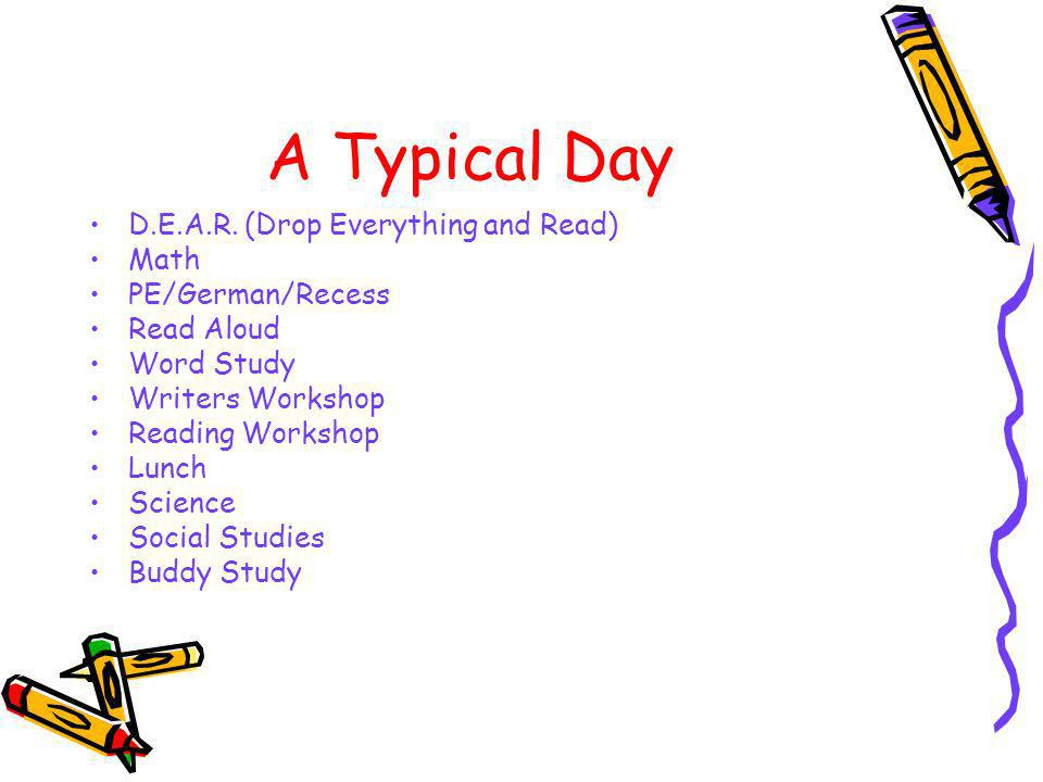 A Typical Day D.E.A.R. (Drop Everything and Read) Math