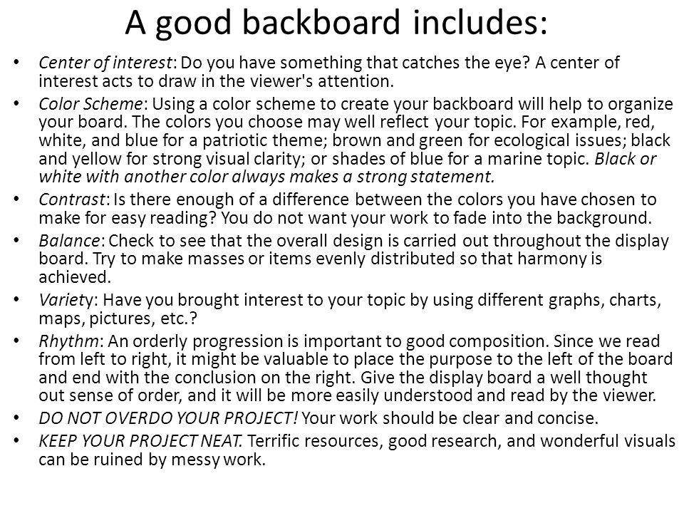 A good backboard includes: