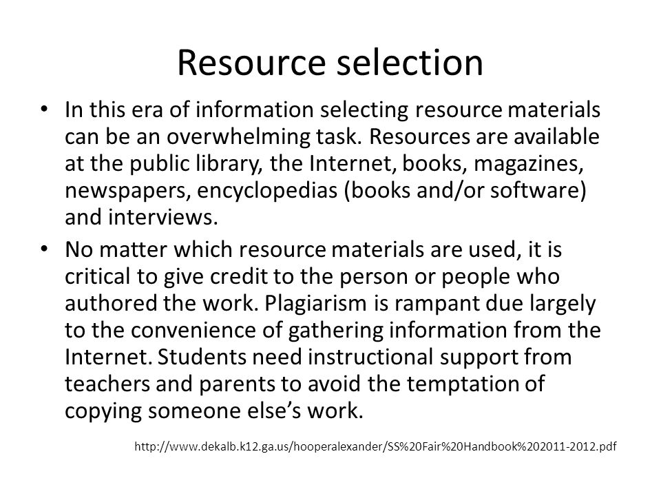 Resource selection