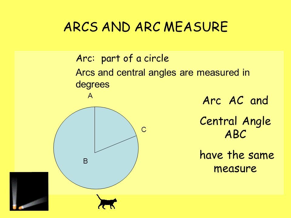 ARCS AND ARC MEASURE Arc AC and Central Angle ABC
