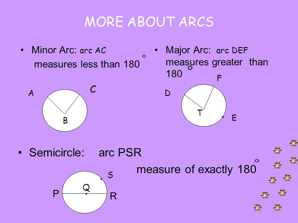 MORE ABOUT ARCS Semicircle: arc PSR measure of exactly 180