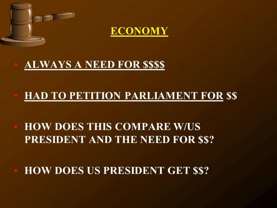 ECONOMY ALWAYS A NEED FOR $$$$ HAD TO PETITION PARLIAMENT FOR $$ HOW DOES THIS COMPARE W/US PRESIDENT AND THE NEED FOR $$
