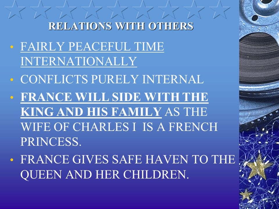 FAIRLY PEACEFUL TIME INTERNATIONALLY CONFLICTS PURELY INTERNAL