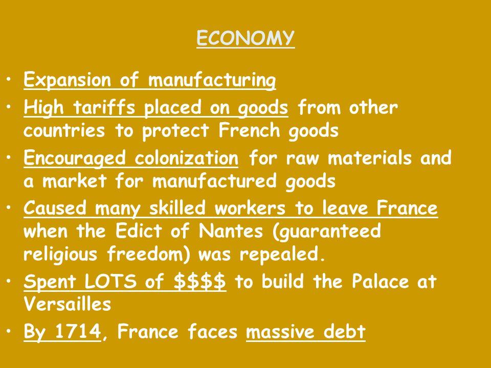 ECONOMY Expansion of manufacturing. High tariffs placed on goods from other countries to protect French goods.