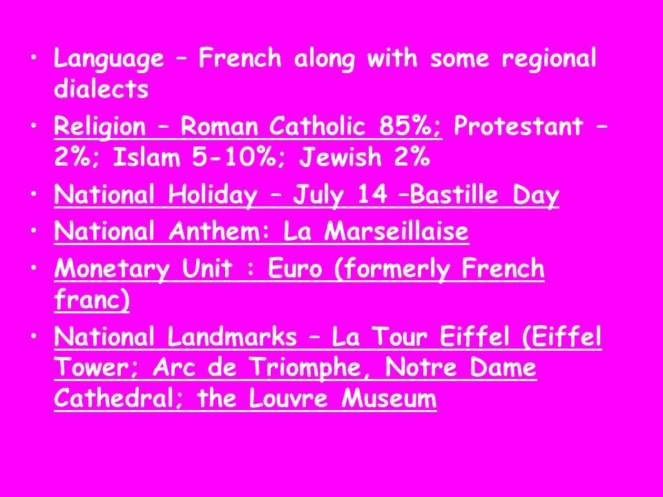 Language – French along with some regional dialects