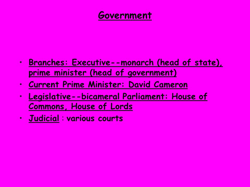 Government Branches: Executive--monarch (head of state), prime minister (head of government) Current Prime Minister: David Cameron.