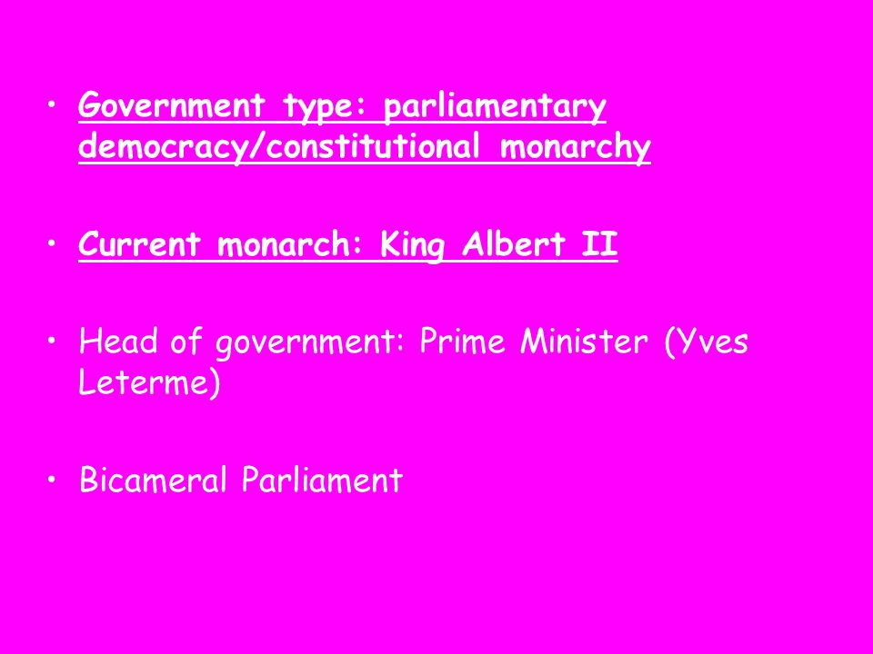 Government type: parliamentary democracy/constitutional monarchy