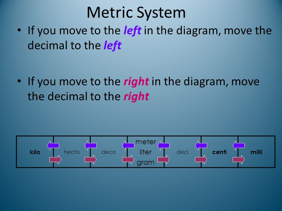 Metric System If you move to the left in the diagram, move the decimal to the left.