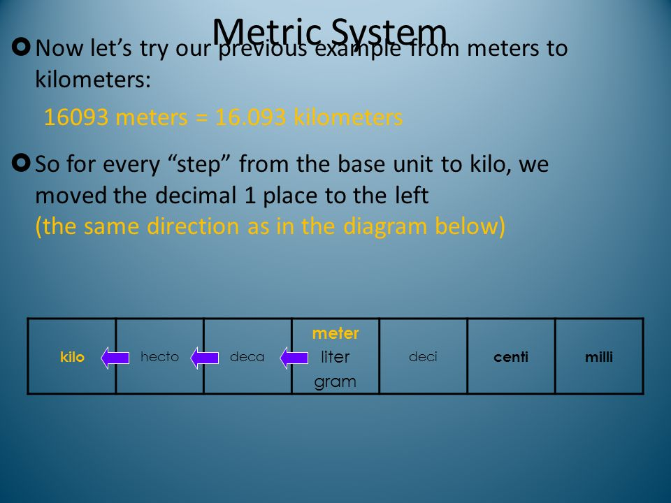 Metric System Now let's try our previous example from meters to kilometers: 16093 meters = 16.093 kilometers.