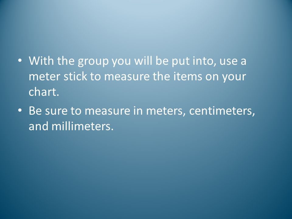With the group you will be put into, use a meter stick to measure the items on your chart.