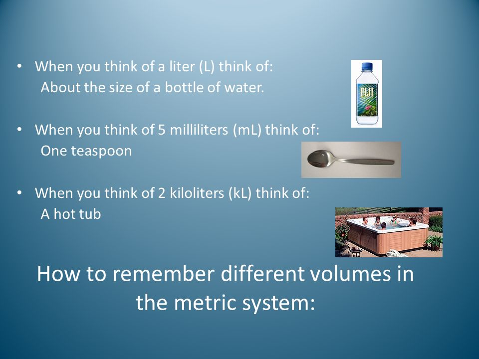 How to remember different volumes in the metric system: