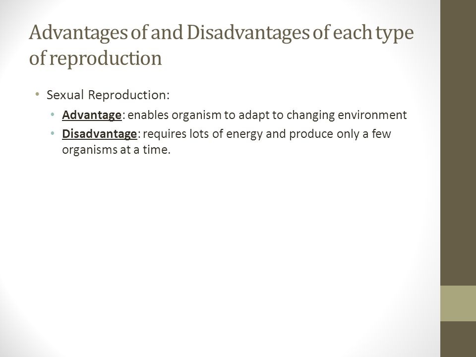 Advantages of and Disadvantages of each type of reproduction