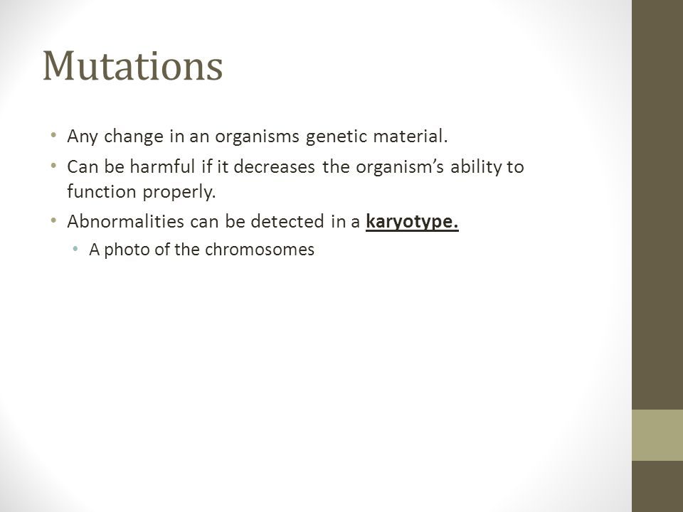 Mutations Any change in an organisms genetic material.