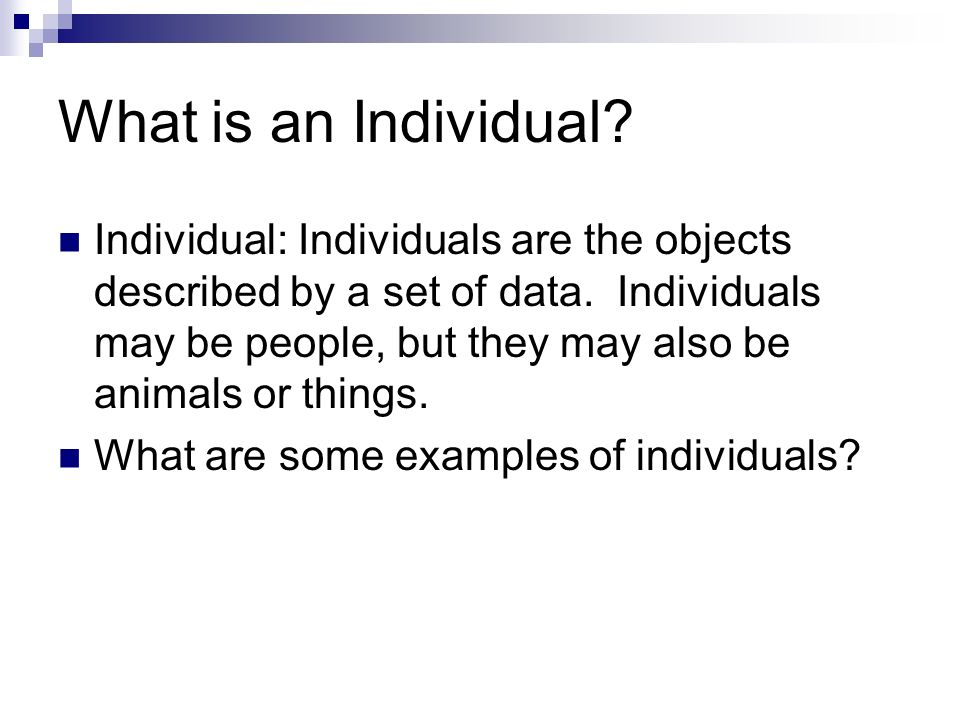 What is an Individual