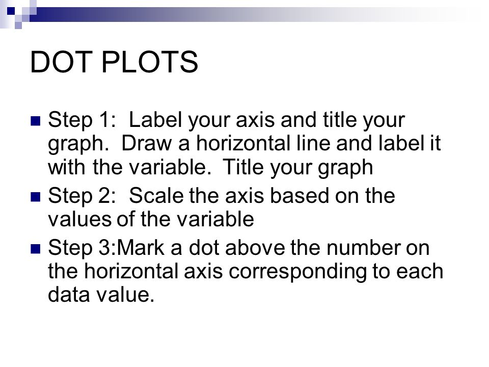 DOT PLOTS Step 1: Label your axis and title your graph. Draw a horizontal line and label it with the variable. Title your graph.