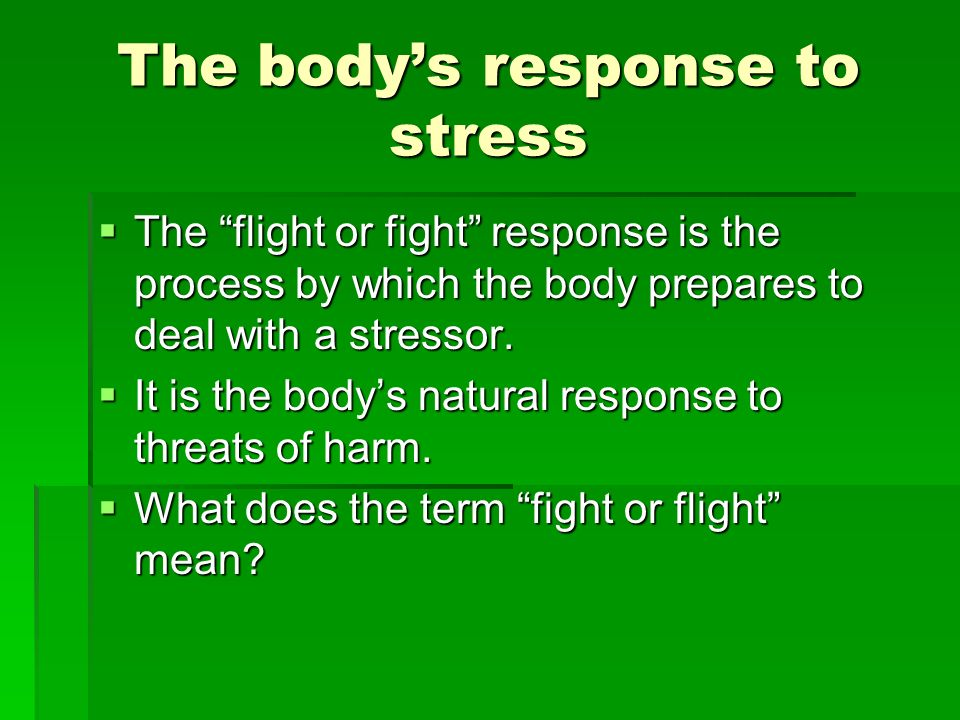 The body's response to stress