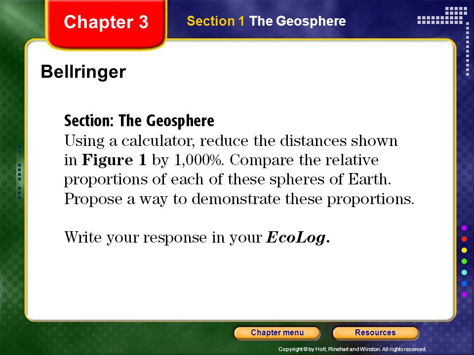 Chapter 3 Section 1 The Geosphere Bellringer