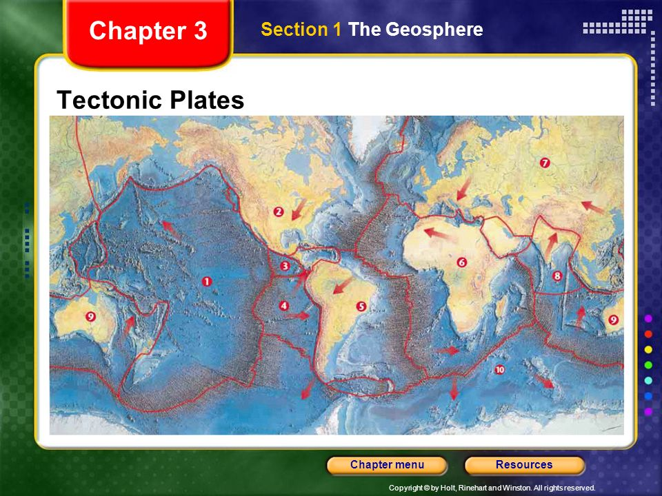 Chapter 3 Section 1 The Geosphere Tectonic Plates