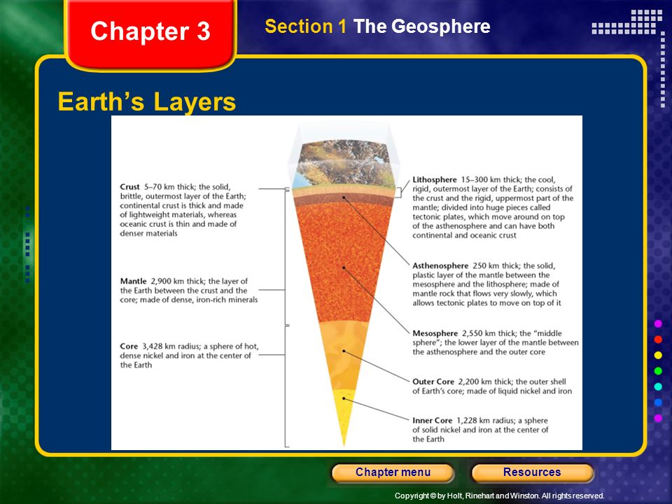Chapter 3 Section 1 The Geosphere Earth's Layers