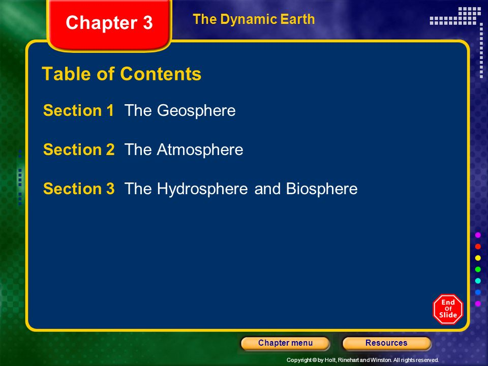 Chapter 3 Table of Contents Section 1 The Geosphere