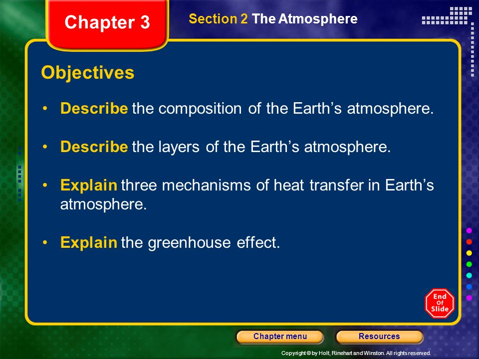 Chapter 3 Section 2 The Atmosphere. Objectives. Describe the composition of the Earth's atmosphere.