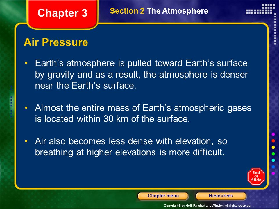 Chapter 3 Section 2 The Atmosphere. Air Pressure.