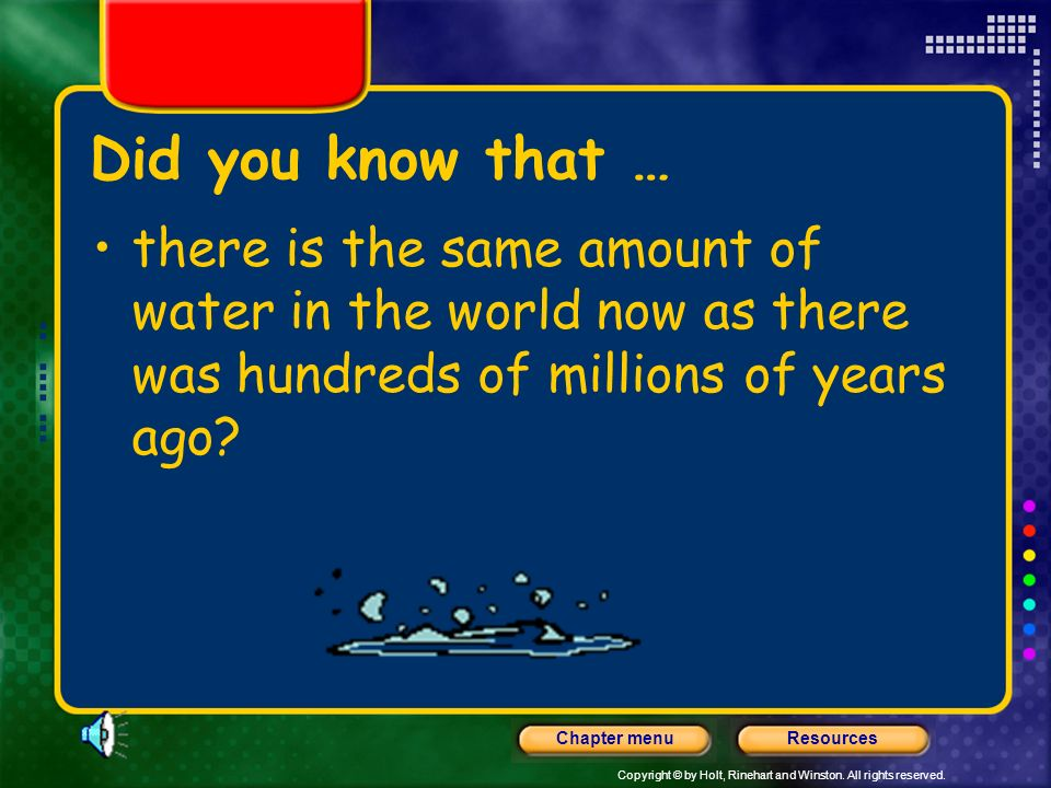 Did you know that … there is the same amount of water in the world now as there was hundreds of millions of years ago