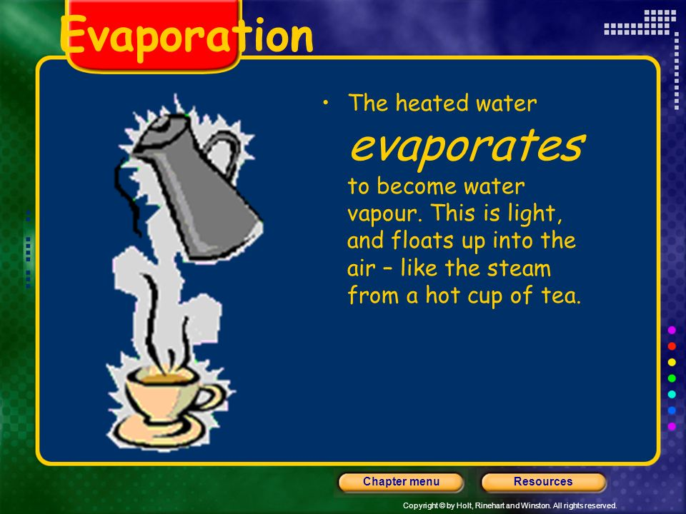 Evaporation The heated water evaporates to become water vapour.
