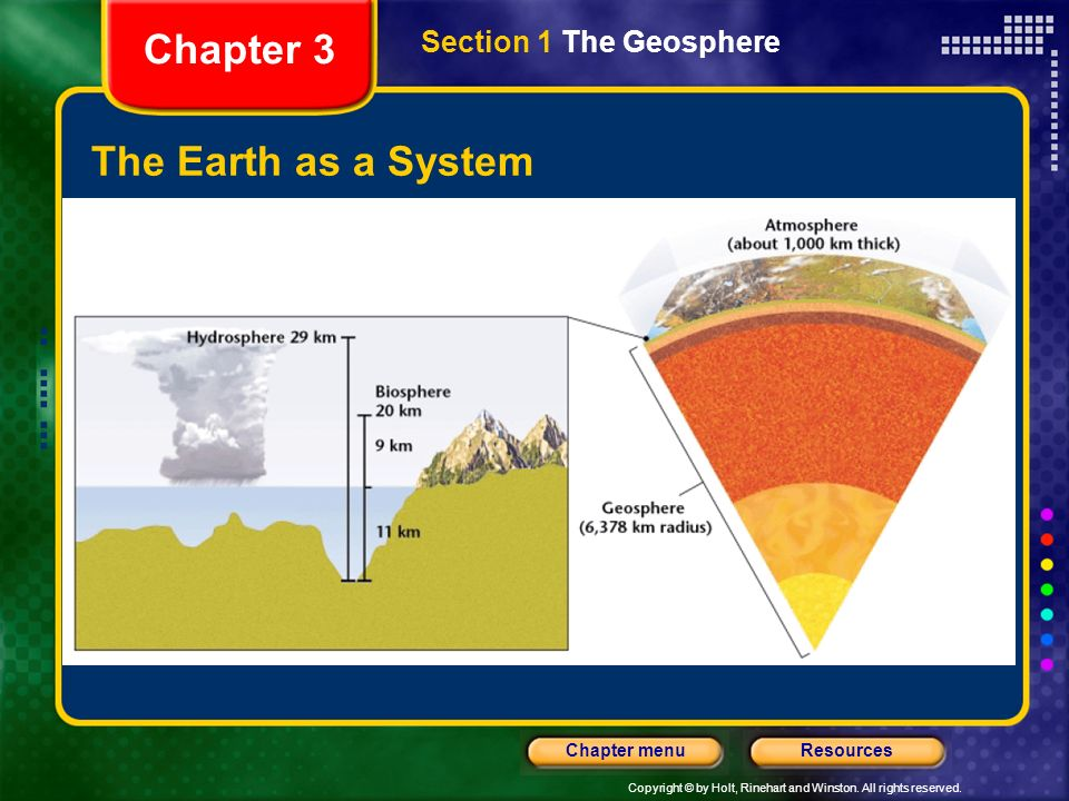 Chapter 3 Section 1 The Geosphere The Earth as a System