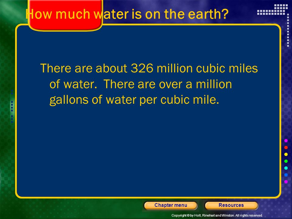How much water is on the earth