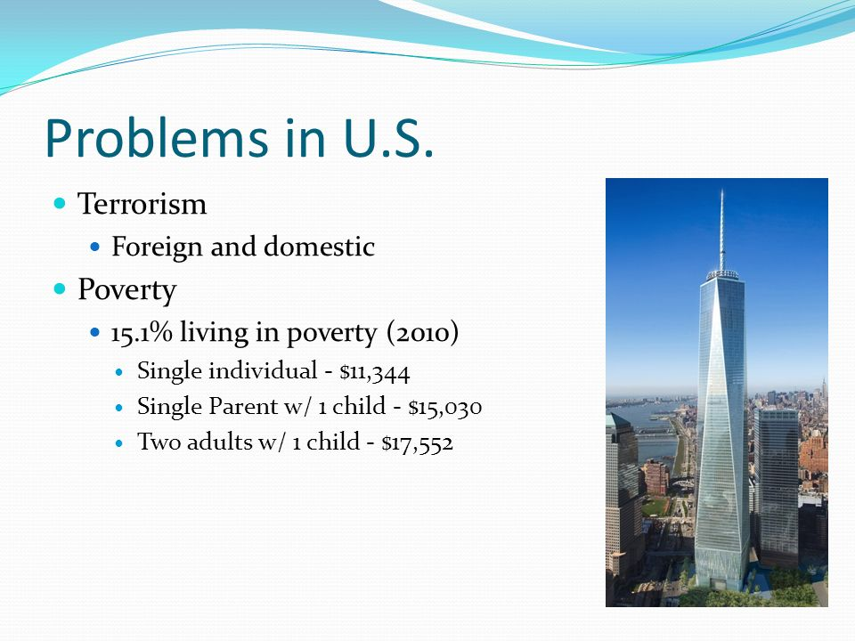 Problems in U.S. Terrorism Poverty Foreign and domestic