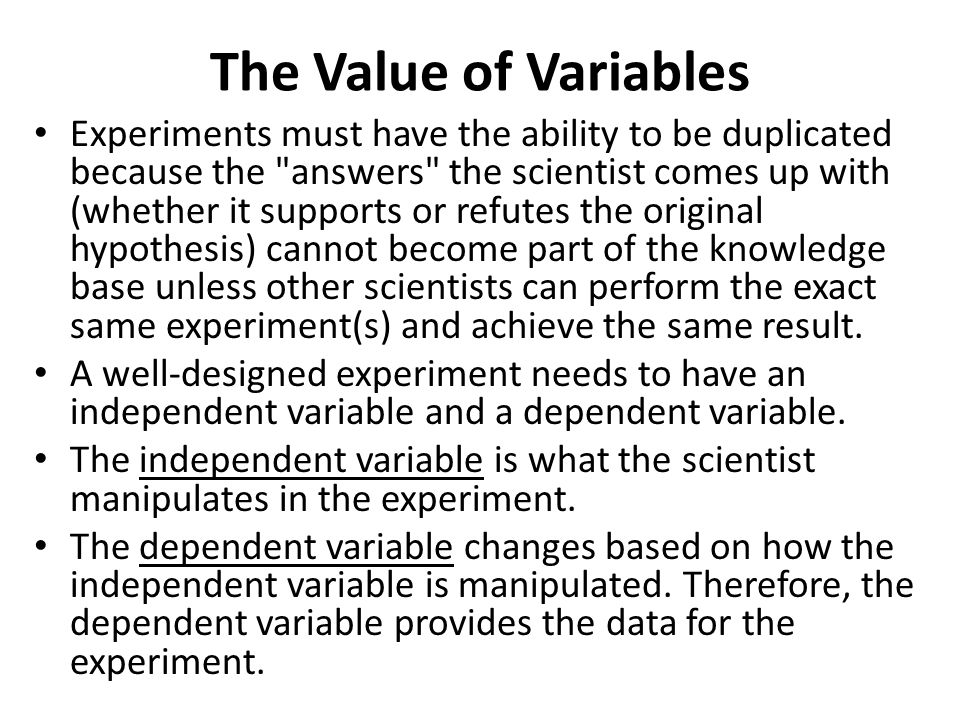 The Value of Variables