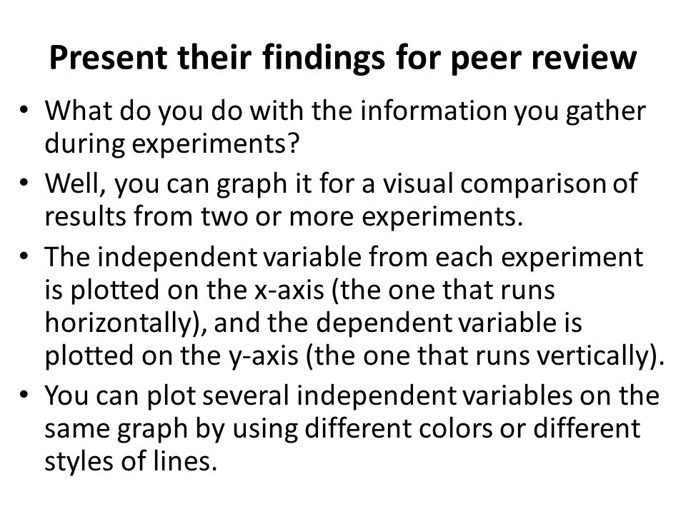 Present their findings for peer review