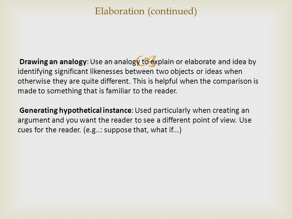 Elaboration (continued)