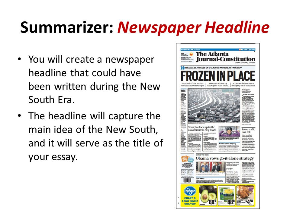 unit the new south ssh the student will evaluate key  27 summarizer newspaper headline