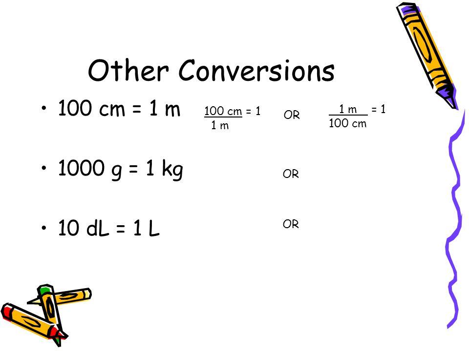 Other Conversions 100 cm = 1 m 1000 g = 1 kg 10 dL = 1 L 1 m = 1