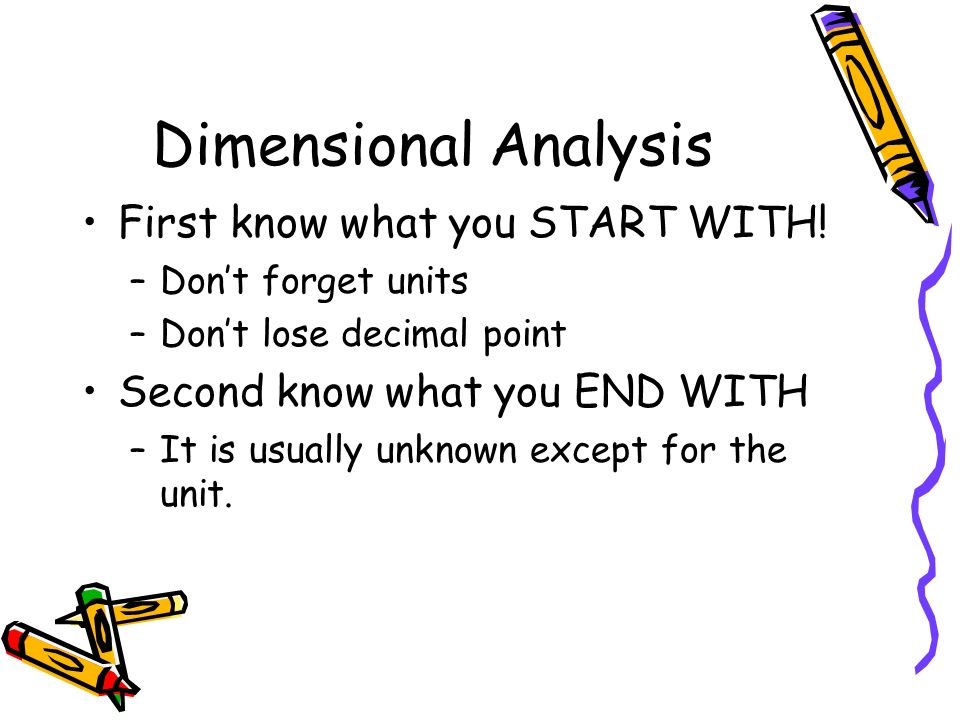 Dimensional Analysis First know what you START WITH!