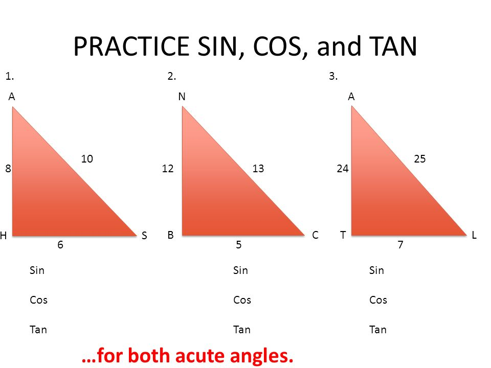 PRACTICE SIN, COS, and TAN