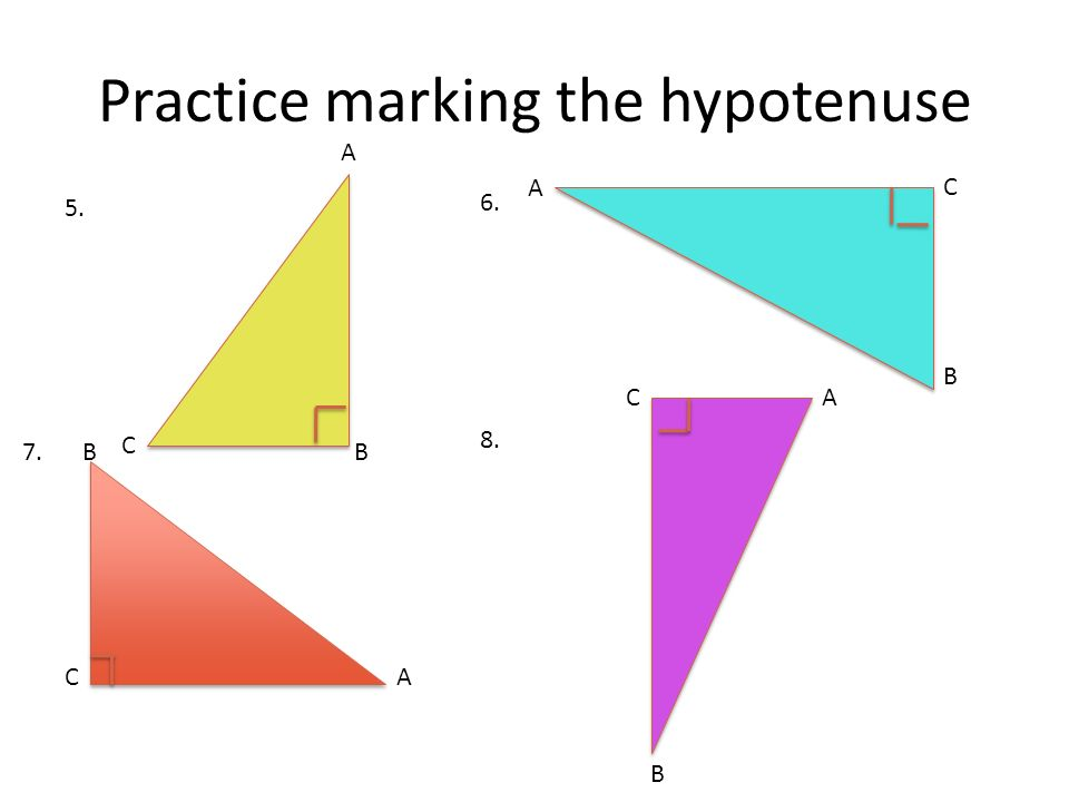 Practice marking the hypotenuse
